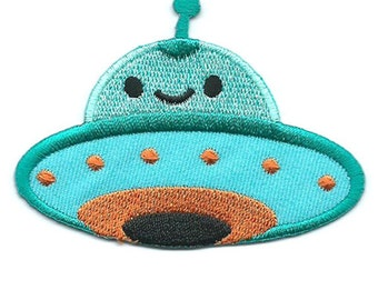 UFO Green Iron On Patch Embroidered Applique