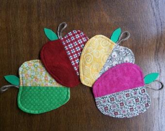Apple Coasters Set of Four Reversible Home Decor Gift Idea