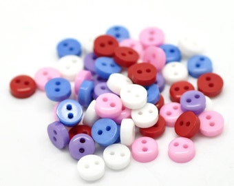 "500PCs Mixed Round 2 Holes Resin Sewing Buttons Scrapbooking 6mm( 2/8"")"