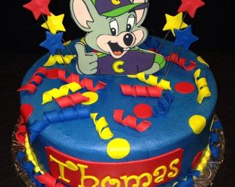 1 Chuck E Cheese Cake Topper / 3 dozen Cupcake Toppers