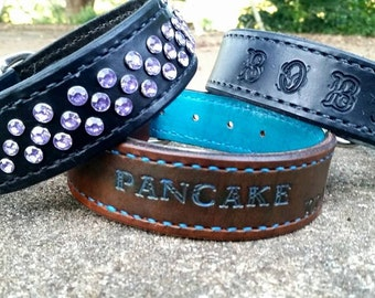 Custom name Stamped leather collars