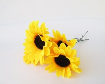 "5 Artificial Sunflowers Silk Flowers Big Yellow Sunflowers 5"" Floral Hair Accessories Flower Supplies Faux Fake Autumn Flowers"