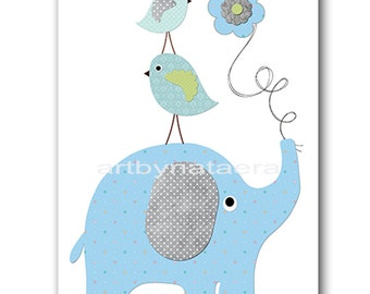 Elephant Nursery Download Baby Boy Nursery Decor Digital Wall Art Printable Digital Print Download Art 8x10 11X14 INSTANT DOWNLOAD blue gray