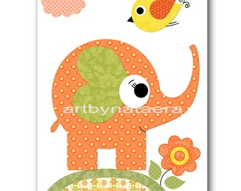 Elephant Nursery Print Kids Art Nursery Digital Print Children Art Baby Girl Nursery Art Baby Girl Room Decor 8x10 11X14 INSTANT DOWNLOAD