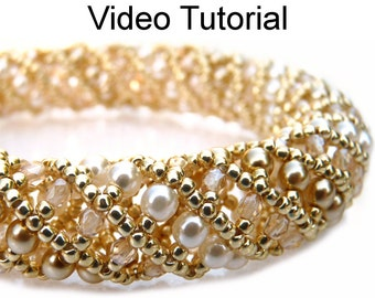 Bracelet Necklace Beading Tutorial Video Beaded Jewelry Making Pattern Tubular Netting Instructions Direction Beadweaving Stitch Beads #9556