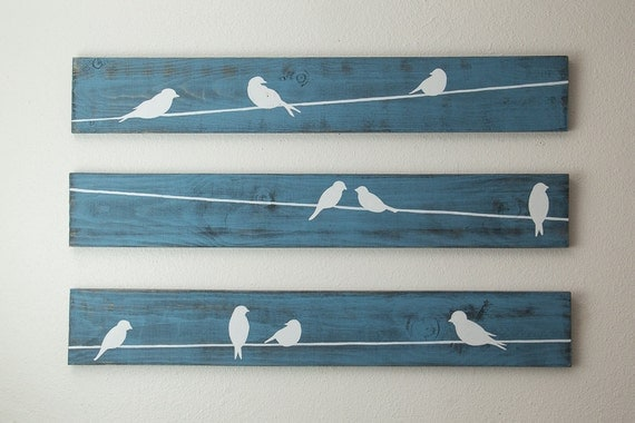 Birds Wire Wall Decor : Rustic wall art birds on a wire piece set large