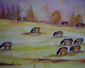 aquarelle paysagère : troupeau de moutons dans la vallée