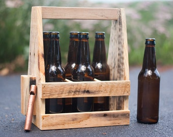 Beer Caddy - Wooden Beer Carrier - 6 pack + Bottle Opener - Home Brewing - Beer Enthusiasts - Best Man Gift - Father's Day - Gift For Him