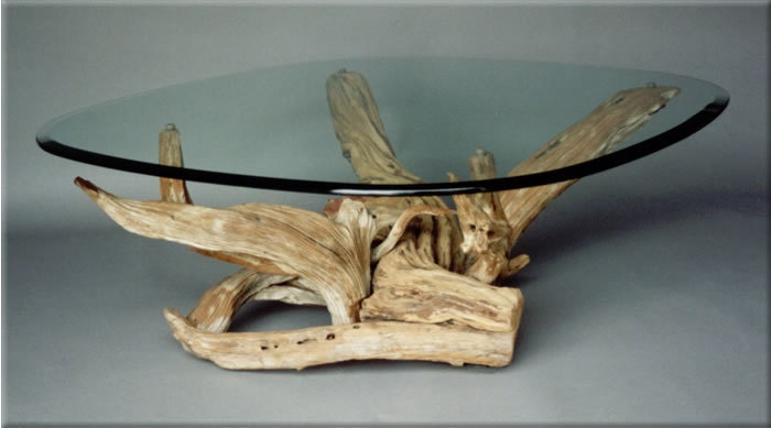 Driftwood coffee table style 2 handmade from reclaimed for Driftwood tables handmade
