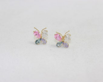 Butterfly with Cubic Zirconia 14K Yellow Gold Screw Earring