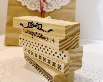 5 Pcs Lace Stamp Set -- Rubber Stamps -- Diary Stamps -- Deco Stamps
