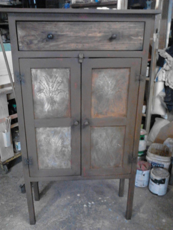Items Similar To Primitive Pie Safe Cabinet With Antiqued