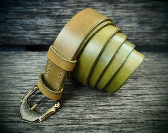Leather belt olive, handmade, italian cattle leather, with special designed unique buckle
