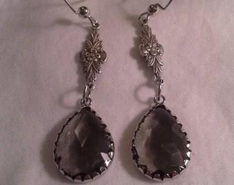 Viintage Inspired Smoky Topaz Crystal Earrings = E 100