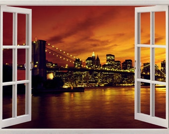 New York Brooklyn Bridge wall sticker 3D window, Manhattan wall decal for home decor, colorful wall art for nursery kids decoration [003]