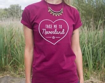 Take Me To Neverland T-shirt Top Heart Cute