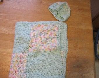 FREE Shipping - Handmade crochet, baby Blanket, & Hat