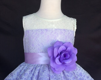 NEW Ivory Elegant Floral Lace Pageant Recital Summer Wedding Toddler Girl Dress S M L XL 2 4 6 8 10 12 14