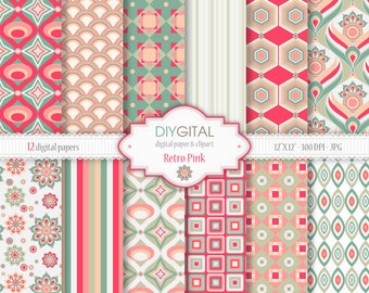 Retro Pink Digital Paper Set - 12 Printable patterns for scrapbooking, invites, cards - Instant Download