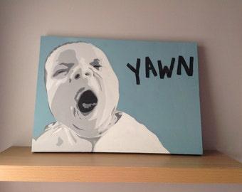 Personalised baby, three tone stencil child portrait