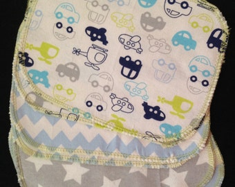 """Reusable wipes - 6  Flannel 6x8""""  Reusable Baby Wipes (Planes, Stars, and Chevron)"""