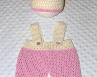 LittleBits Newborn Pink & Cream Crocheted Overalls and Beanie Set Handmade In Australia