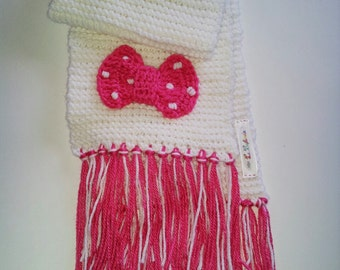 Crochet White and Pink Minnie Mouse Girl's Scarf