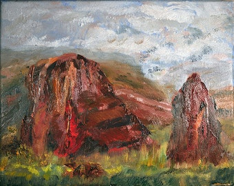 A Gift Two Rocks hand painted oil on canvas by Keith Zudell Size: 10x8. One of a kind.