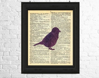 Dictionary Art Print, Dictionary Page Art Instant Download - Purple Bird Silhouette,Printable Art, Bird Printables,Printable Bird Art