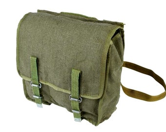 Vintage Military Bag Green Canvas Ex-Army Spacious Messenger Bag