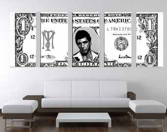 scarface dollar bill hand painted canvas pop art oil painting xxl framed gallery wrapped wall art
