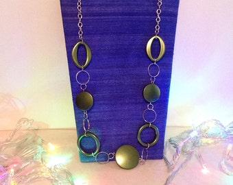 Long Silver & Green Necklace