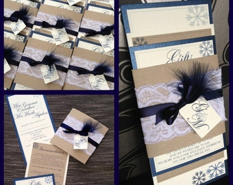 Wedding Invitation Bundle | Vintage | Shabby Chic | Lace Band | Tag