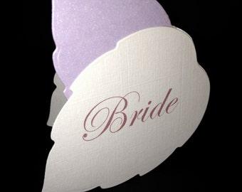 Die Cut Leaf   Personalised Wedding Name Place Setting