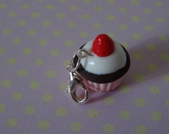 Pink cupcake charm with strawberry topping