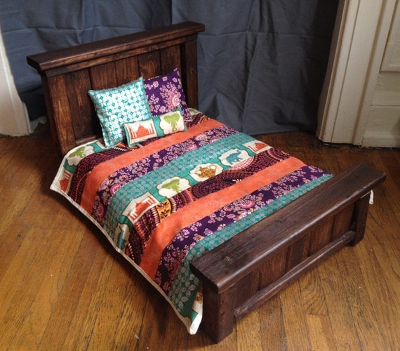 """Wooden Doll Bed for American Girl Dolls/18"""" Dolls"""