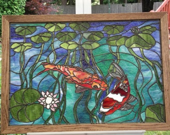 Stained glass koi etsy for Koi pond glass
