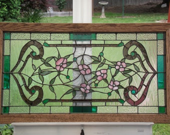Stained Glass Panel. Title: Victorian Flowers