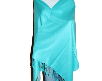 Robbin Egg Blue Women's Solid Color Pashmina Shawl Wrap Stole Scarf