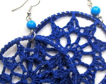 Crochet dangle earrings - Cobalt blue