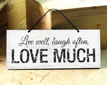 Wall Sign in Black & White with Love Saying. Inspirational Saying. Wedding Gift. Coffee Shop Sign. Valentines Day Gift. Ready to Ship
