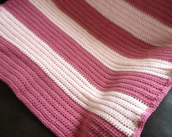 Crocheted Baby Blanket; Pink Stripes; Striped Blanket; Baby Pink Blanket; Receiving Blanket; Baby Shower Gift; Handmade