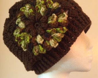 Womens brown crochet hat and scarf with flower