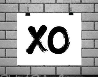 Art Print Hugs & Kisses XO Wall Art 8 x 10 Love Instant Download