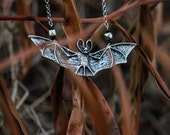 Gothic silver bat pendant with silver spacers and black swarovski - Creature of the night