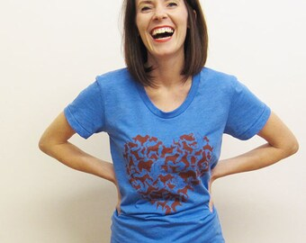 Dog Heart Womens Tshirt, Poly/Cotton Tee