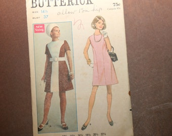 Vintage Butterick Dress Pattern 5308 - Size 14-1/2/Bust 37 - FREE US SHIPPING