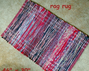 Handwoven --- Red Summer Waves --- Multi colored rag rug --- 46x30