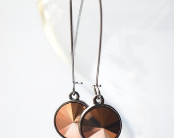 Chrissy - Rose Gold Gunmetal Swarovski Earrings