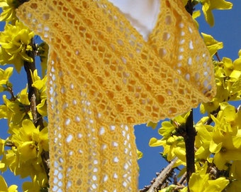 Easy Knit Scarf PATTERN - Delicate Forsythia Lace - Instant Download DIY